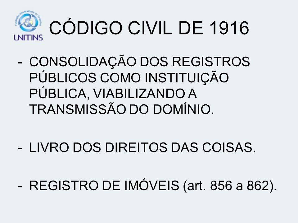 CÓDIGO CIVIL DE 1916 -CONSOLIDAÇÃO DOS REGISTROS PÚBLICOS COMO INSTITUIÇÃO PÚBLICA, VIABILIZANDO A TRANSMISSÃO DO DOMÍNIO. -LIVRO DOS DIREITOS DAS COI