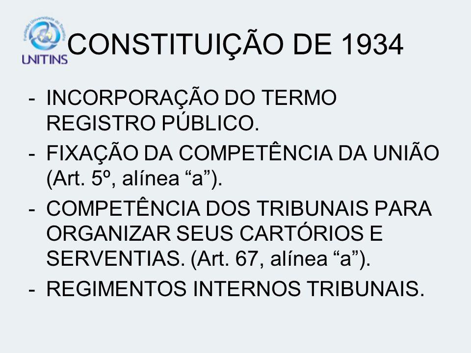 CONSTITUIÇÃO DE 1934 -INCORPORAÇÃO DO TERMO REGISTRO PÚBLICO. -FIXAÇÃO DA COMPETÊNCIA DA UNIÃO (Art. 5º, alínea a). -COMPETÊNCIA DOS TRIBUNAIS PARA OR