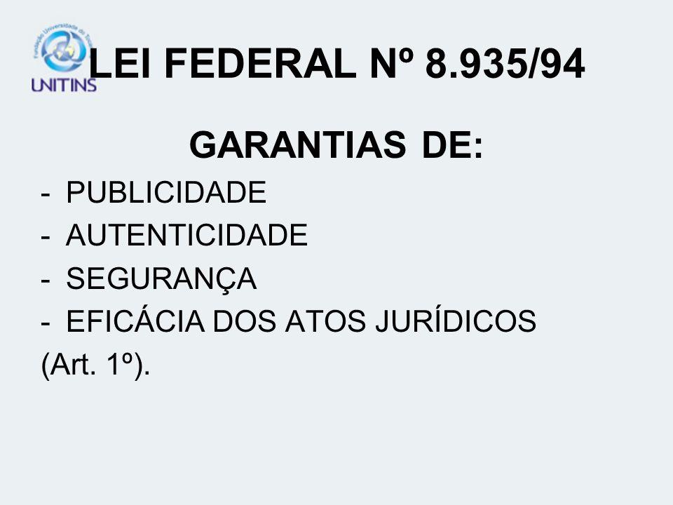LEI FEDERAL Nº 8.935/94 GARANTIAS DE: -PUBLICIDADE -AUTENTICIDADE -SEGURANÇA -EFICÁCIA DOS ATOS JURÍDICOS (Art. 1º).