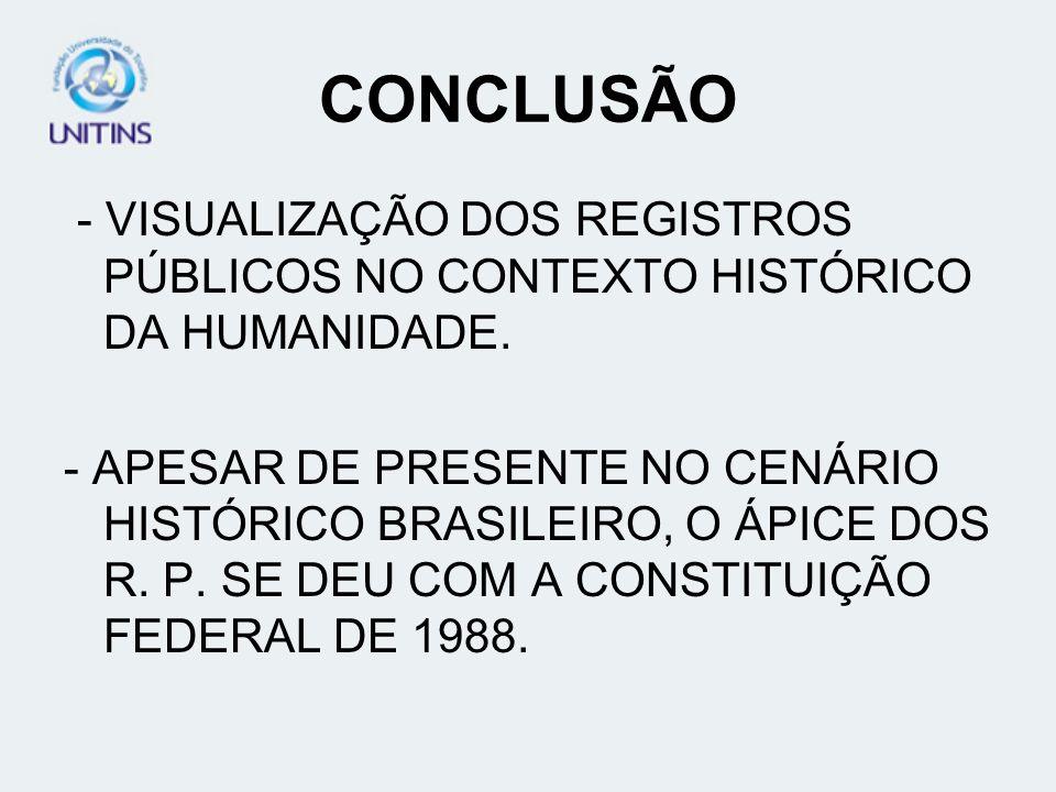 CONCLUSÃO - VISUALIZAÇÃO DOS REGISTROS PÚBLICOS NO CONTEXTO HISTÓRICO DA HUMANIDADE. - APESAR DE PRESENTE NO CENÁRIO HISTÓRICO BRASILEIRO, O ÁPICE DOS