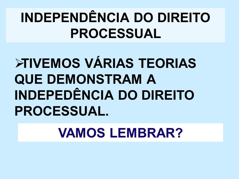 INDEPENDÊNCIA DO DIREITO PROCESSUAL TIVEMOS VÁRIAS TEORIAS QUE DEMONSTRAM A INDEPEDÊNCIA DO DIREITO PROCESSUAL. VAMOS LEMBRAR?