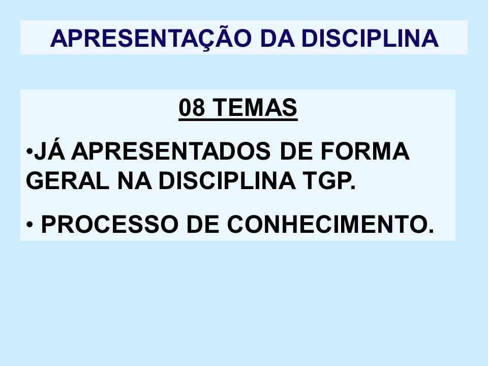 APRESENTAÇÃO DA DISCIPLINA 08 TEMAS JÁ APRESENTADOS DE FORMA GERAL NA DISCIPLINA TGP. PROCESSO DE CONHECIMENTO.