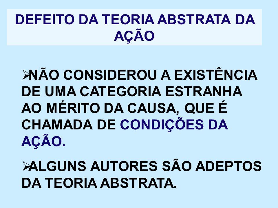 DEFEITO DA TEORIA ABSTRATA DA AÇÃO NÃO CONSIDEROU A EXISTÊNCIA DE UMA CATEGORIA ESTRANHA AO MÉRITO DA CAUSA, QUE É CHAMADA DE CONDIÇÕES DA AÇÃO. ALGUN
