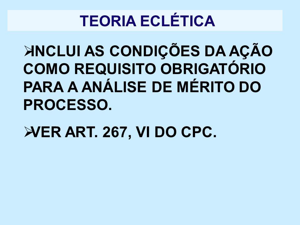 TEORIA ECLÉTICA INCLUI AS CONDIÇÕES DA AÇÃO COMO REQUISITO OBRIGATÓRIO PARA A ANÁLISE DE MÉRITO DO PROCESSO. VER ART. 267, VI DO CPC.