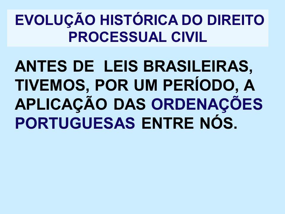 EVOLUÇÃO HISTÓRICA DO DIREITO PROCESSUAL CIVIL ANTES DE LEIS BRASILEIRAS, TIVEMOS, POR UM PERÍODO, A APLICAÇÃO DAS ORDENAÇÕES PORTUGUESAS ENTRE NÓS.