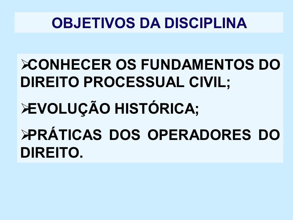 OBJETIVOS DA DISCIPLINA ANALISAR OS PRINCÍPIOS DO DIREITO PROCESSUAL CIVIL À LUZ DA CONSTITUIÇÃO FEDERAL.