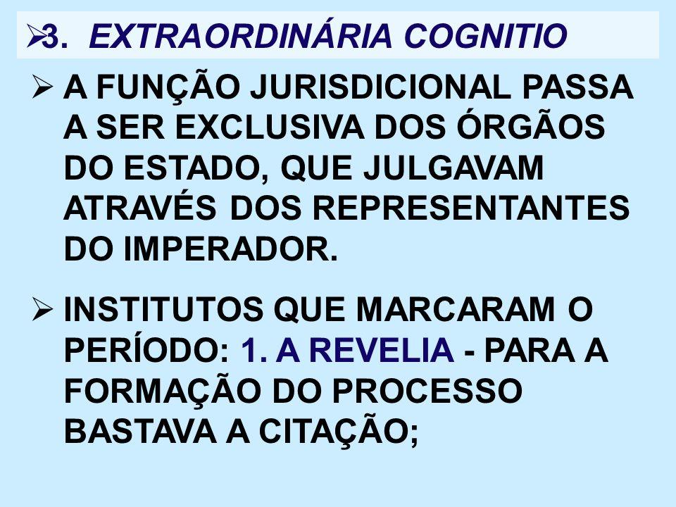3. EXTRAORDINÁRIA COGNITIO A FUNÇÃO JURISDICIONAL PASSA A SER EXCLUSIVA DOS ÓRGÃOS DO ESTADO, QUE JULGAVAM ATRAVÉS DOS REPRESENTANTES DO IMPERADOR. IN