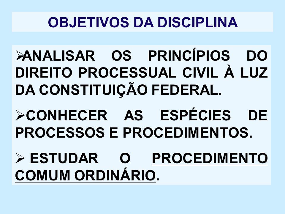 PROGRAMA DA DISCIPLINA TEMA I – NOÇÕES PRELIMINARES DE PROCESSO CIVIL; TEMA 2 – JURISDIÇÃO E DA COMPETÊNCIA; TEMA 3 – DA AÇÃO; TEMA 4 – DO PROCESSO E DO PROCEDIMENTO;