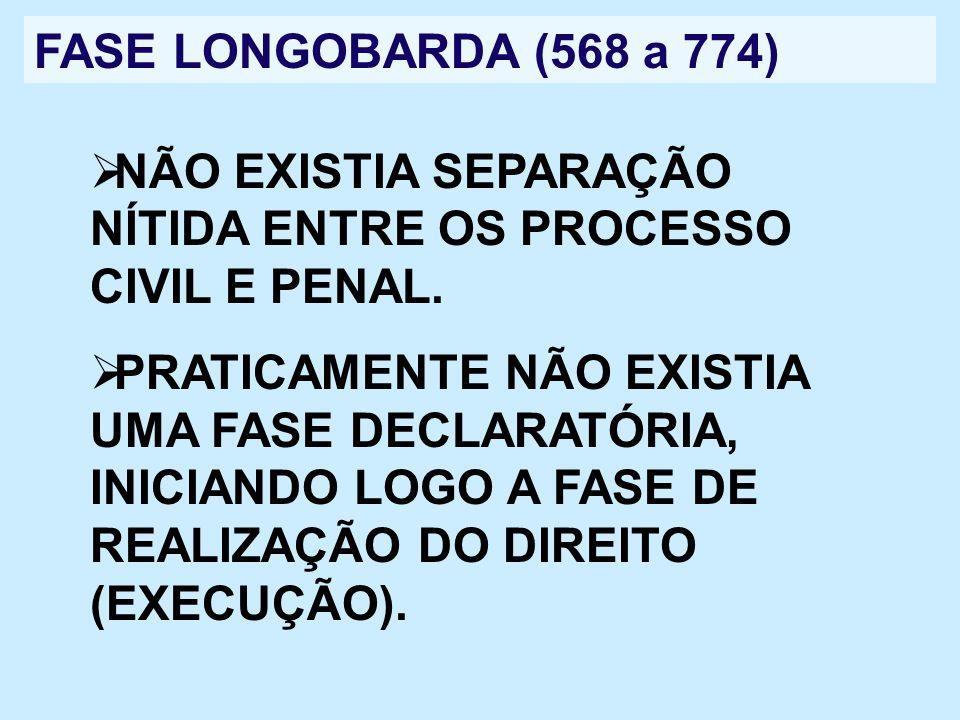 FASE LONGOBARDA (568 a 774) NÃO EXISTIA SEPARAÇÃO NÍTIDA ENTRE OS PROCESSO CIVIL E PENAL. PRATICAMENTE NÃO EXISTIA UMA FASE DECLARATÓRIA, INICIANDO LO
