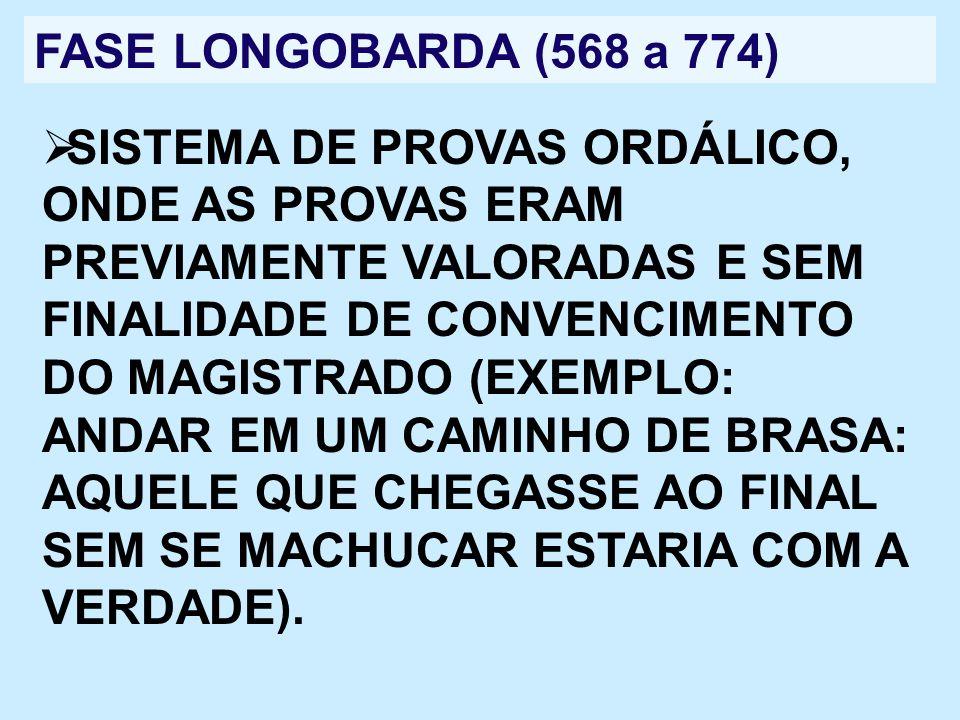 FASE LONGOBARDA (568 a 774) SISTEMA DE PROVAS ORDÁLICO, ONDE AS PROVAS ERAM PREVIAMENTE VALORADAS E SEM FINALIDADE DE CONVENCIMENTO DO MAGISTRADO (EXE