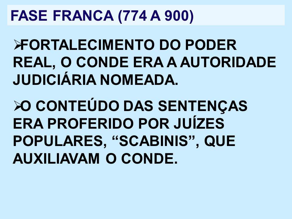 FASE FRANCA (774 A 900) FORTALECIMENTO DO PODER REAL, O CONDE ERA A AUTORIDADE JUDICIÁRIA NOMEADA. O CONTEÚDO DAS SENTENÇAS ERA PROFERIDO POR JUÍZES P