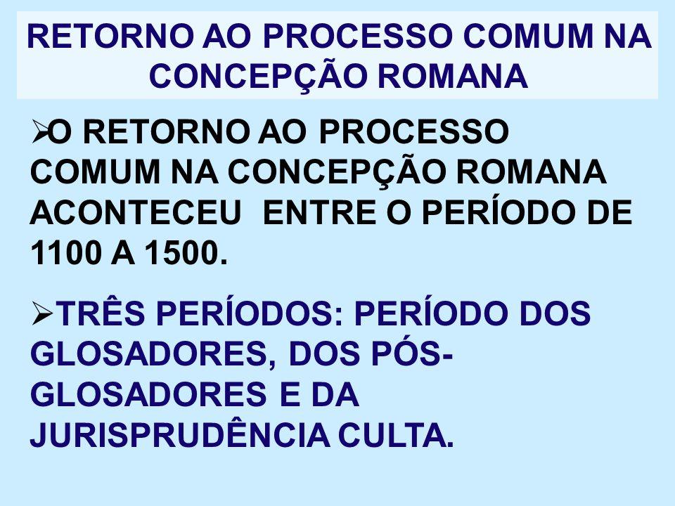 RETORNO AO PROCESSO COMUM NA CONCEPÇÃO ROMANA O RETORNO AO PROCESSO COMUM NA CONCEPÇÃO ROMANA ACONTECEU ENTRE O PERÍODO DE 1100 A 1500. TRÊS PERÍODOS: