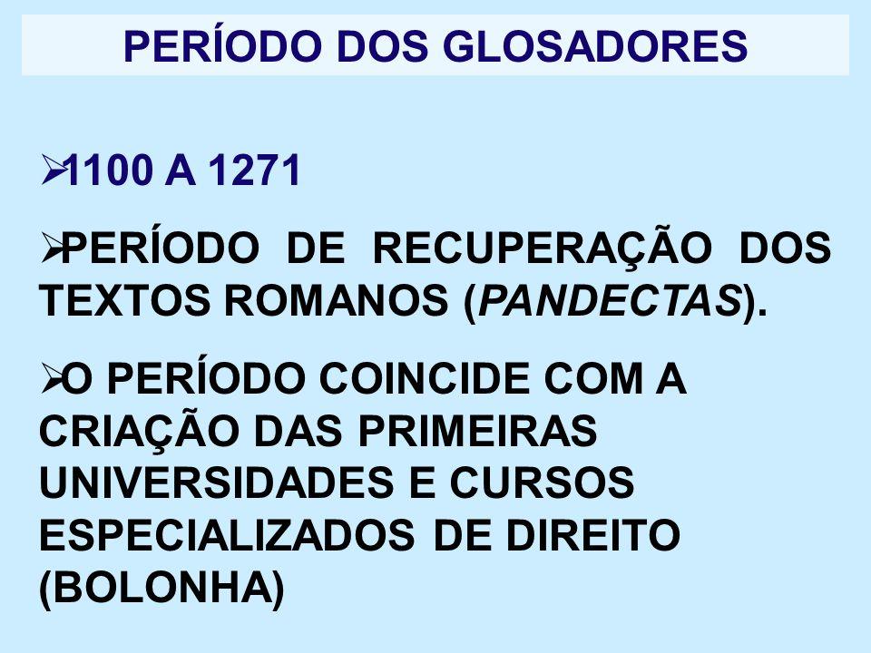 PERÍODO DOS GLOSADORES 1100 A 1271 PERÍODO DE RECUPERAÇÃO DOS TEXTOS ROMANOS (PANDECTAS). O PERÍODO COINCIDE COM A CRIAÇÃO DAS PRIMEIRAS UNIVERSIDADES