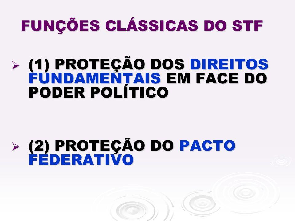FUNÇÕES CLÁSSICAS DO STF (1) PROTEÇÃO DOS DIREITOS FUNDAMENTAIS EM FACE DO PODER POLÍTICO (1) PROTEÇÃO DOS DIREITOS FUNDAMENTAIS EM FACE DO PODER POLÍTICO (2) PROTEÇÃO DO PACTO FEDERATIVO (2) PROTEÇÃO DO PACTO FEDERATIVO