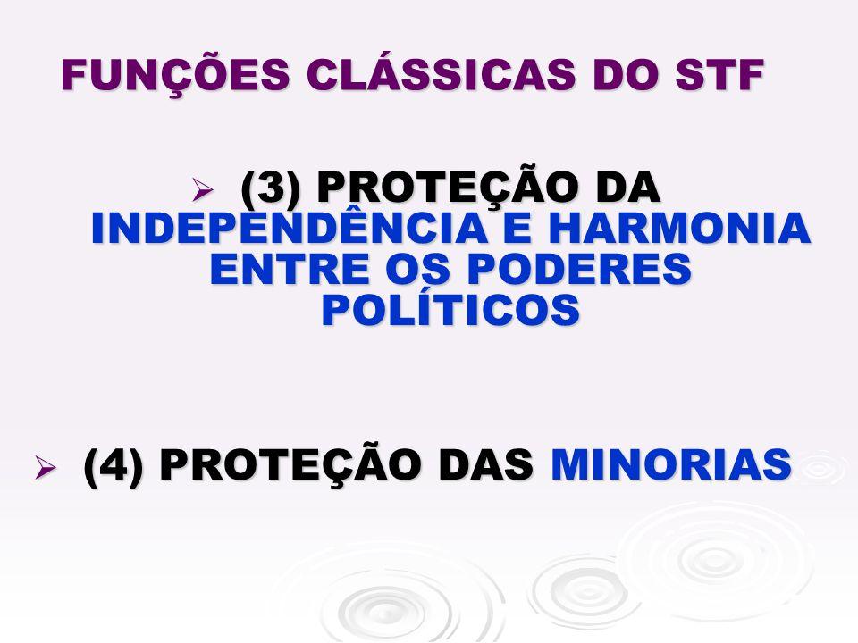 FUNÇÕES CLÁSSICAS DO STF (3) PROTEÇÃO DA INDEPENDÊNCIA E HARMONIA ENTRE OS PODERES POLÍTICOS (3) PROTEÇÃO DA INDEPENDÊNCIA E HARMONIA ENTRE OS PODERES POLÍTICOS (4) PROTEÇÃO DAS MINORIAS (4) PROTEÇÃO DAS MINORIAS