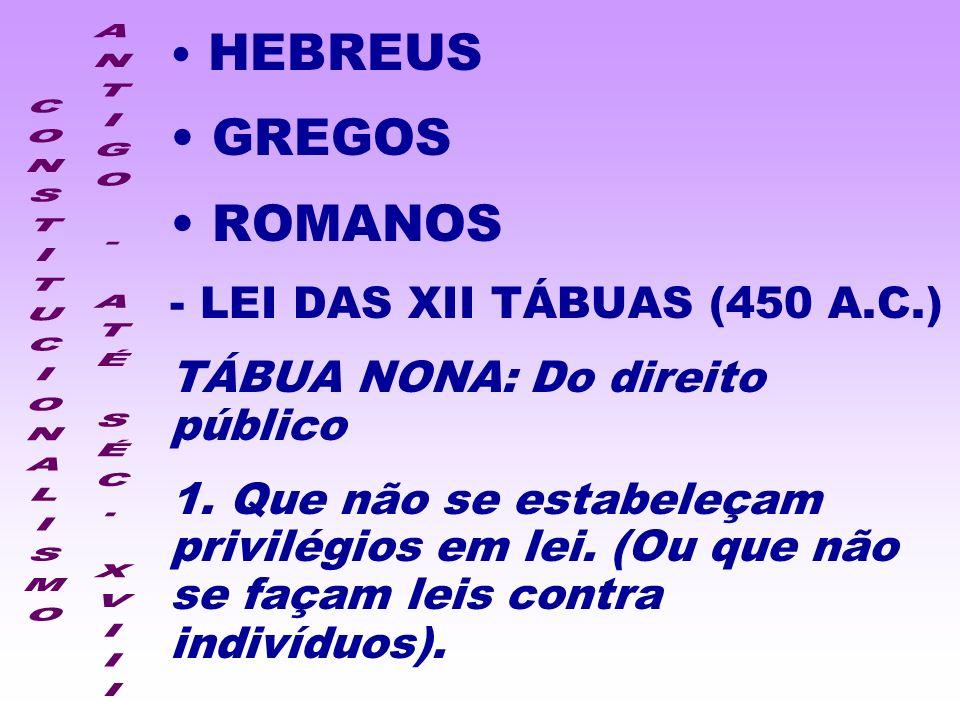 HEBREUS GREGOS ROMANOS - LEI DAS XII TÁBUAS (450 A.C.) TÁBUA NONA: Do direito público 1. Que não se estabeleçam privilégios em lei. (Ou que não se faç