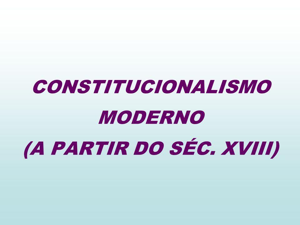 CONSTITUCIONALISMO MODERNO (A PARTIR DO SÉC. XVIII)