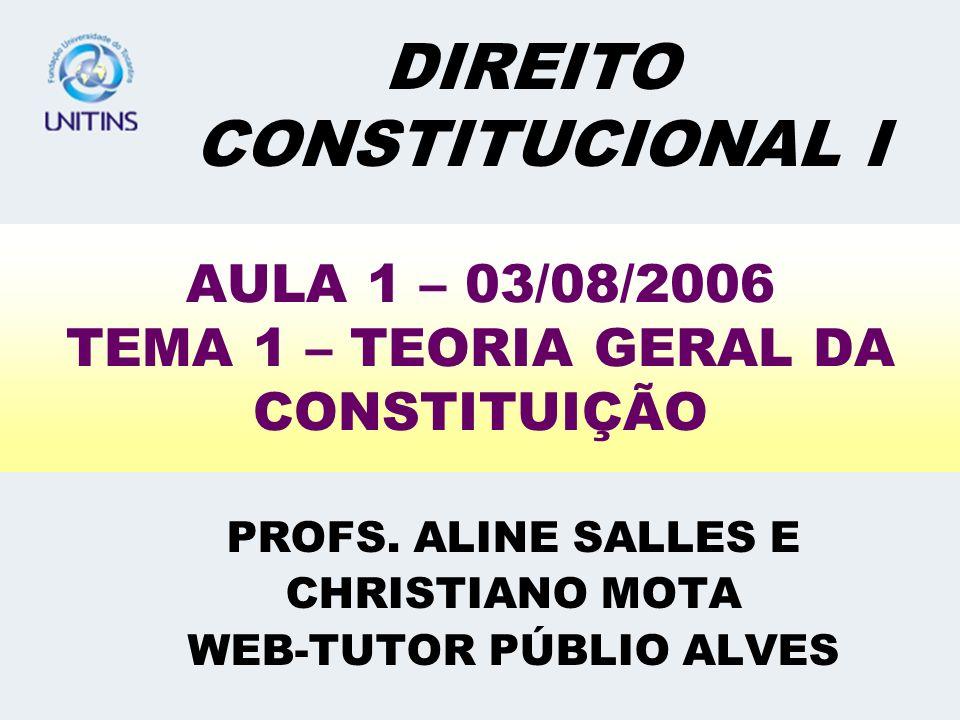 AULA 1 – 03/08/2006 TEMA 1 – TEORIA GERAL DA CONSTITUIÇÃO PROFS. ALINE SALLES E CHRISTIANO MOTA WEB-TUTOR PÚBLIO ALVES DIREITO CONSTITUCIONAL I