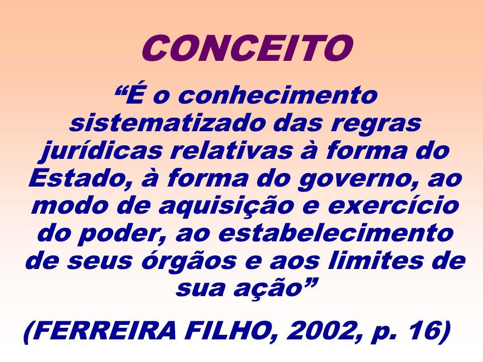 É o conhecimento sistematizado das regras jurídicas relativas à forma do Estado, à forma do governo, ao modo de aquisição e exercício do poder, ao estabelecimento de seus órgãos e aos limites de sua ação (FERREIRA FILHO, 2002, p.