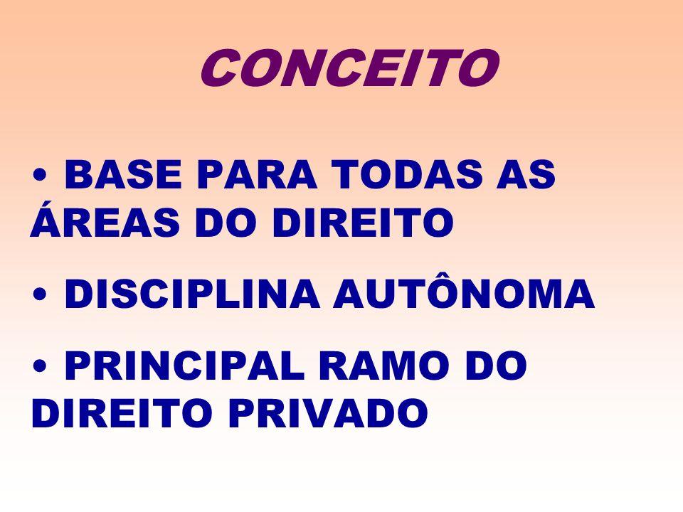 BASE PARA TODAS AS ÁREAS DO DIREITO DISCIPLINA AUTÔNOMA PRINCIPAL RAMO DO DIREITO PRIVADO CONCEITO