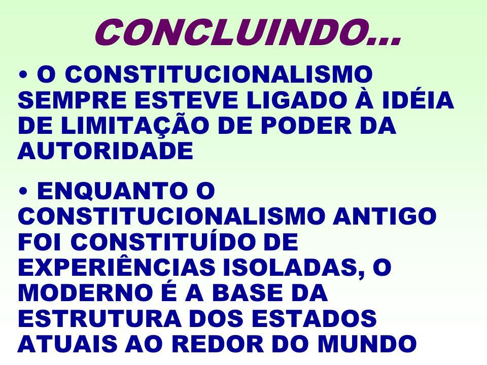 O CONSTITUCIONALISMO SEMPRE ESTEVE LIGADO À IDÉIA DE LIMITAÇÃO DE PODER DA AUTORIDADE ENQUANTO O CONSTITUCIONALISMO ANTIGO FOI CONSTITUÍDO DE EXPERIÊNCIAS ISOLADAS, O MODERNO É A BASE DA ESTRUTURA DOS ESTADOS ATUAIS AO REDOR DO MUNDO CONCLUINDO...