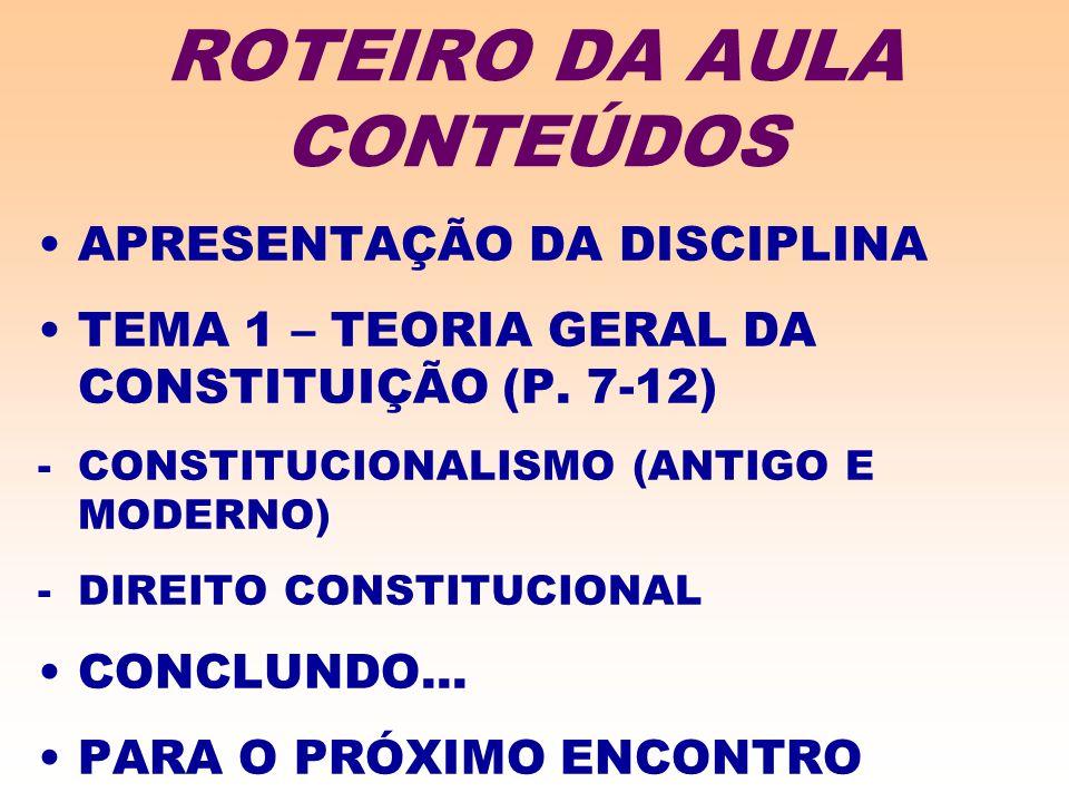 ROTEIRO DA AULA CONTEÚDOS APRESENTAÇÃO DA DISCIPLINA TEMA 1 – TEORIA GERAL DA CONSTITUIÇÃO (P. 7-12) -CONSTITUCIONALISMO (ANTIGO E MODERNO) -DIREITO C