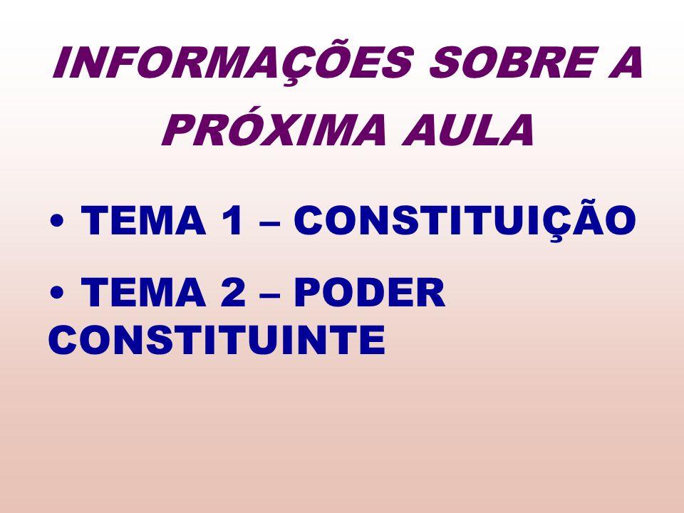 TEMA 1 – CONSTITUIÇÃO TEMA 2 – PODER CONSTITUINTE INFORMAÇÕES SOBRE A PRÓXIMA AULA