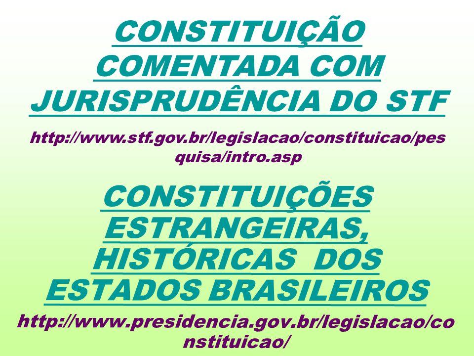 CONSTITUIÇÕES ESTRANGEIRAS, HISTÓRICAS DOS ESTADOS BRASILEIROS http://www.presidencia.gov.br/legislacao/co nstituicao/ CONSTITUIÇÃO COMENTADA COM JURISPRUDÊNCIA DO STF http://www.stf.gov.br/legislacao/constituicao/pes quisa/intro.asp