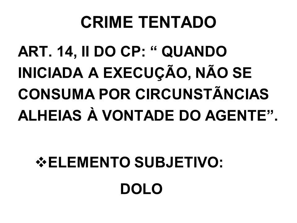 CRIME TENTADO ART. 14, II DO CP: QUANDO INICIADA A EXECUÇÃO, NÃO SE CONSUMA POR CIRCUNSTÃNCIAS ALHEIAS À VONTADE DO AGENTE. ELEMENTO SUBJETIVO: DOLO