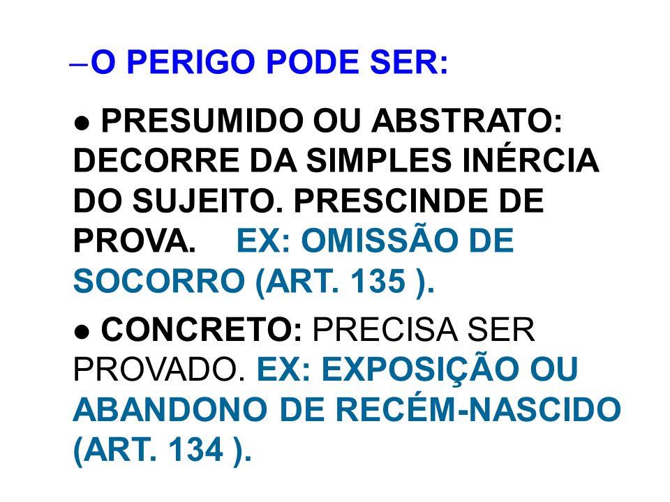 –O PERIGO PODE SER: PRESUMIDO OU ABSTRATO: DECORRE DA SIMPLES INÉRCIA DO SUJEITO. PRESCINDE DE PROVA. EX: OMISSÃO DE SOCORRO (ART. 135 ). CONCRETO: PR