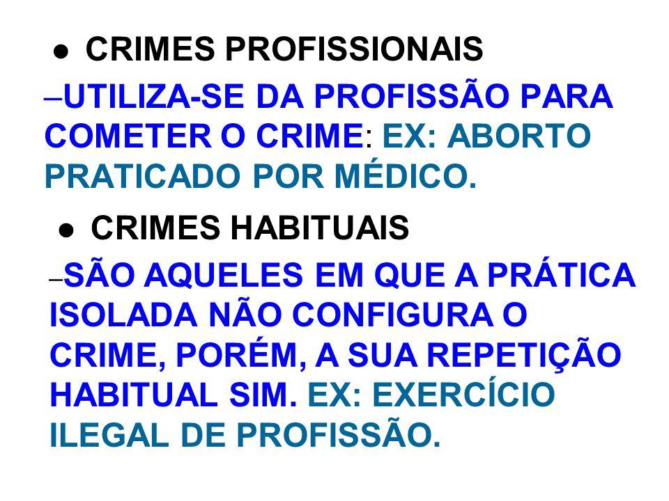 –UTILIZA-SE DA PROFISSÃO PARA COMETER O CRIME: EX: ABORTO PRATICADO POR MÉDICO. CRIMES PROFISSIONAIS – SÃO AQUELES EM QUE A PRÁTICA ISOLADA NÃO CONFIG