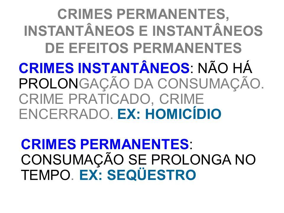 CRIMES PERMANENTES, INSTANTÂNEOS E INSTANTÂNEOS DE EFEITOS PERMANENTES CRIMES INSTANTÂNEOS: NÃO HÁ PROLONGAÇÃO DA CONSUMAÇÃO. CRIME PRATICADO, CRIME E