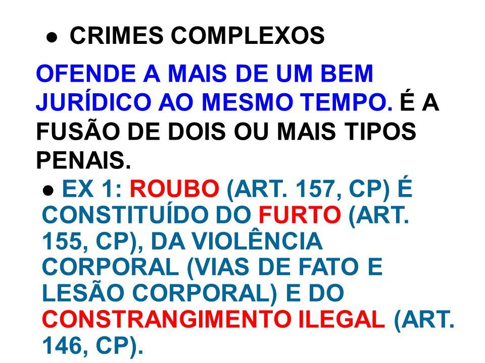 OFENDE A MAIS DE UM BEM JURÍDICO AO MESMO TEMPO. É A FUSÃO DE DOIS OU MAIS TIPOS PENAIS. CRIMES COMPLEXOS EX 1: ROUBO (ART. 157, CP) É CONSTITUÍDO DO