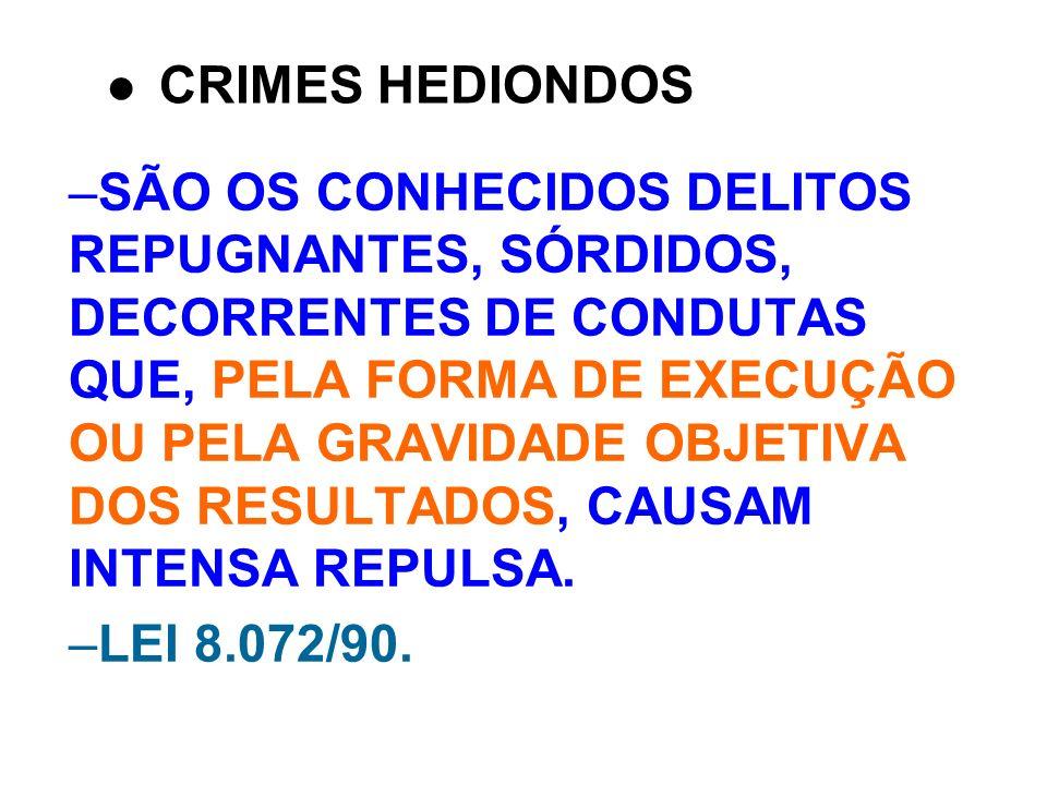 –SÃO OS CONHECIDOS DELITOS REPUGNANTES, SÓRDIDOS, DECORRENTES DE CONDUTAS QUE, PELA FORMA DE EXECUÇÃO OU PELA GRAVIDADE OBJETIVA DOS RESULTADOS, CAUSA