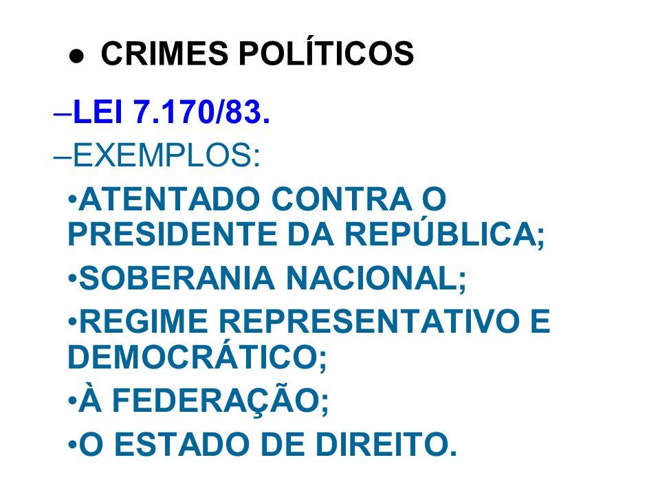 –LEI 7.170/83. –EXEMPLOS: ATENTADO CONTRA O PRESIDENTE DA REPÚBLICA; SOBERANIA NACIONAL; REGIME REPRESENTATIVO E DEMOCRÁTICO; À FEDERAÇÃO; O ESTADO DE