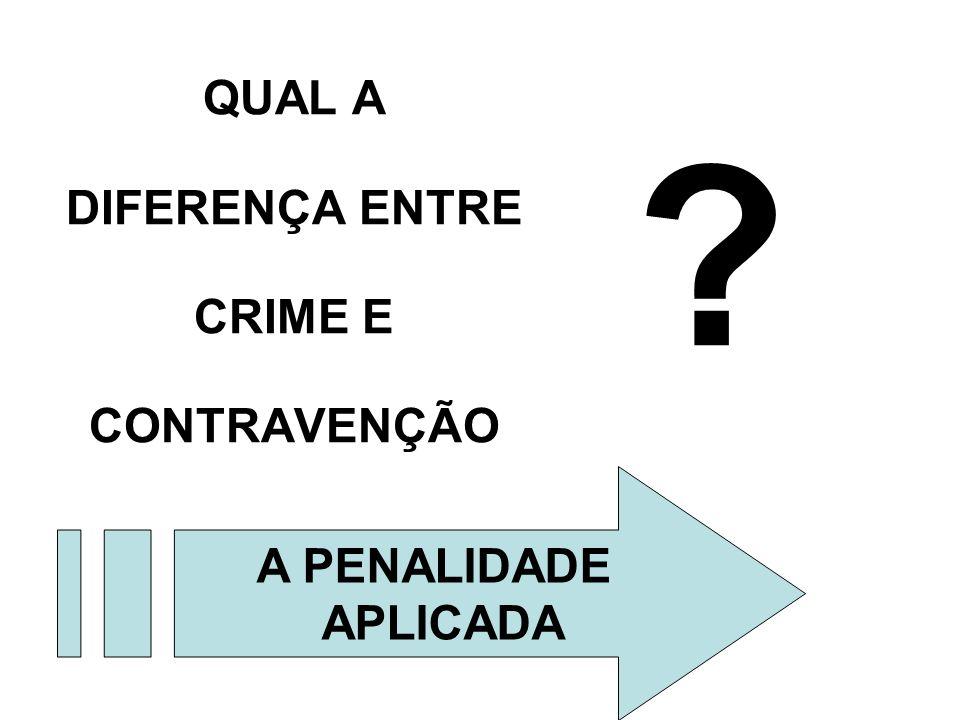 QUAL A DIFERENÇA ENTRE CRIME E CONTRAVENÇÃO ? A PENALIDADE APLICADA