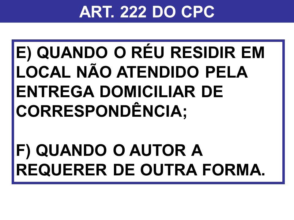 ART. 222 DO CPC E) QUANDO O RÉU RESIDIR EM LOCAL NÃO ATENDIDO PELA ENTREGA DOMICILIAR DE CORRESPONDÊNCIA; F) QUANDO O AUTOR A REQUERER DE OUTRA FORMA.