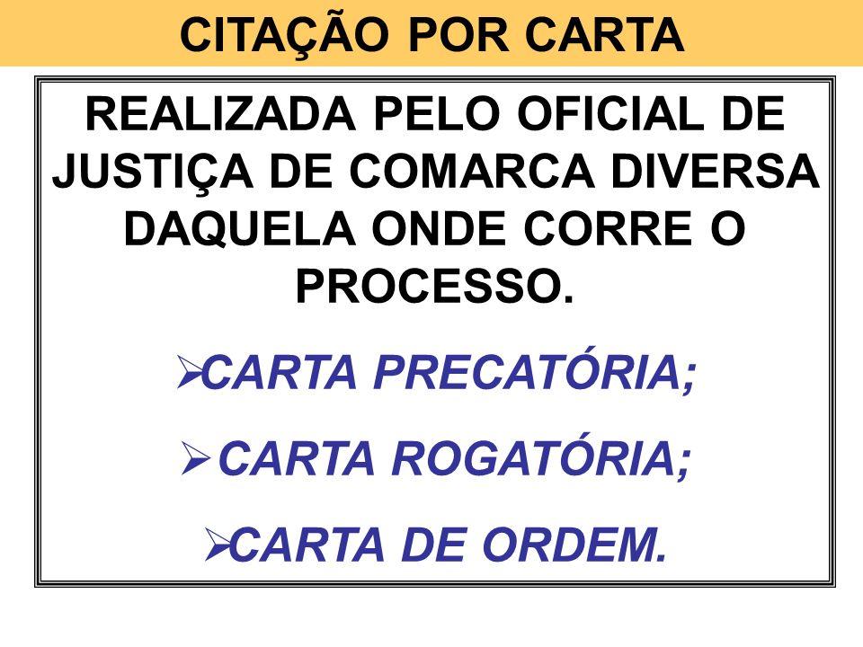 CITAÇÃO POR CARTA REALIZADA PELO OFICIAL DE JUSTIÇA DE COMARCA DIVERSA DAQUELA ONDE CORRE O PROCESSO. CARTA PRECATÓRIA; CARTA ROGATÓRIA; CARTA DE ORDE