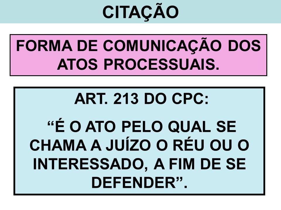 CITAÇÃO FORMA DE COMUNICAÇÃO DOS ATOS PROCESSUAIS. ART. 213 DO CPC: É O ATO PELO QUAL SE CHAMA A JUÍZO O RÉU OU O INTERESSADO, A FIM DE SE DEFENDER.