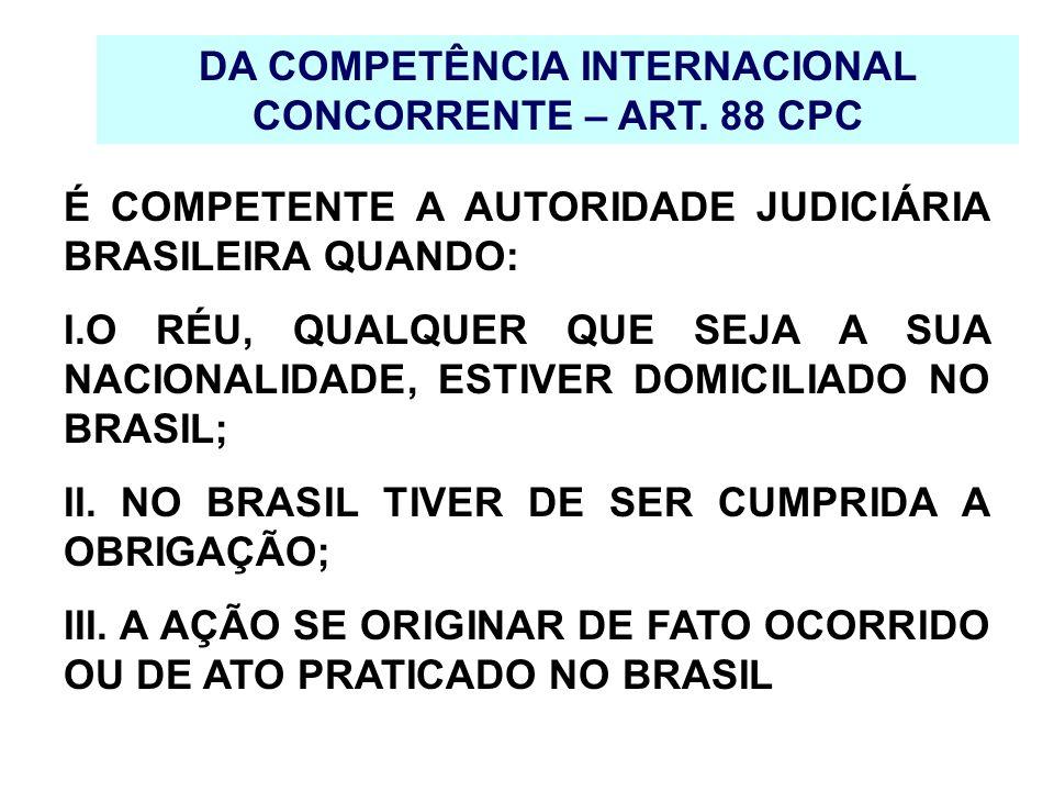 DA COMPETÊNCIA INTERNACIONAL CONCORRENTE – ART. 88 CPC É COMPETENTE A AUTORIDADE JUDICIÁRIA BRASILEIRA QUANDO: I.O RÉU, QUALQUER QUE SEJA A SUA NACION