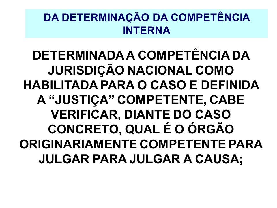 DA DETERMINAÇÃO DA COMPETÊNCIA INTERNA DETERMINADA A COMPETÊNCIA DA JURISDIÇÃO NACIONAL COMO HABILITADA PARA O CASO E DEFINIDA A JUSTIÇA COMPETENTE, C
