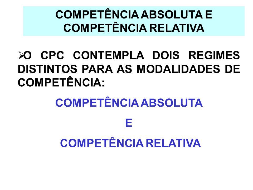 COMPETÊNCIA ABSOLUTA E COMPETÊNCIA RELATIVA O CPC CONTEMPLA DOIS REGIMES DISTINTOS PARA AS MODALIDADES DE COMPETÊNCIA: COMPETÊNCIA ABSOLUTA E COMPETÊN