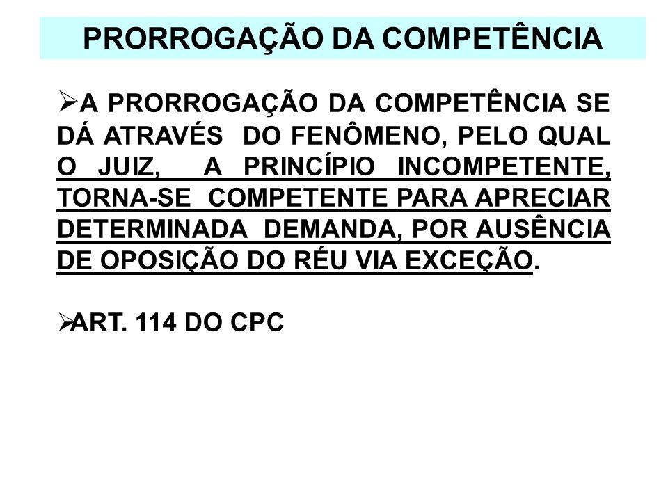 PRORROGAÇÃO DA COMPETÊNCIA A PRORROGAÇÃO DA COMPETÊNCIA SE DÁ ATRAVÉS DO FENÔMENO, PELO QUAL O JUIZ, A PRINCÍPIO INCOMPETENTE, TORNA-SE COMPETENTE PAR