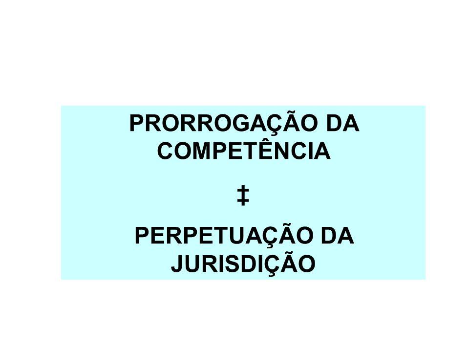 PRORROGAÇÃO DA COMPETÊNCIA PERPETUAÇÃO DA JURISDIÇÃO