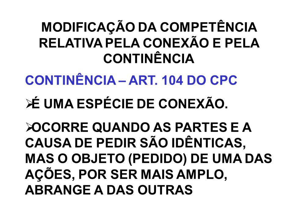 MODIFICAÇÃO DA COMPETÊNCIA RELATIVA PELA CONEXÃO E PELA CONTINÊNCIA CONTINÊNCIA – ART. 104 DO CPC É UMA ESPÉCIE DE CONEXÃO. OCORRE QUANDO AS PARTES E