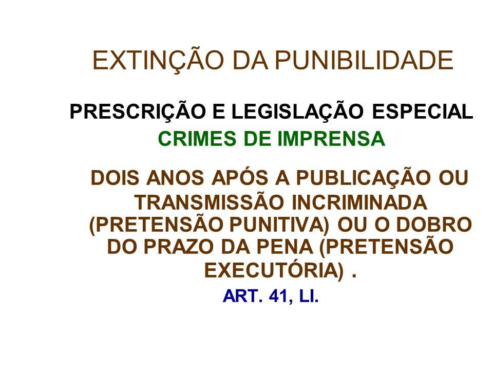 PRESCRIÇÃO E LEGISLAÇÃO ESPECIAL CRIMES DE IMPRENSA DOIS ANOS APÓS A PUBLICAÇÃO OU TRANSMISSÃO INCRIMINADA (PRETENSÃO PUNITIVA) OU O DOBRO DO PRAZO DA
