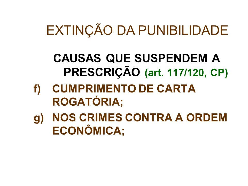 CAUSAS QUE SUSPENDEM A PRESCRIÇÃO (art. 117/120, CP) f)CUMPRIMENTO DE CARTA ROGATÓRIA; g)NOS CRIMES CONTRA A ORDEM ECONÔMICA; EXTINÇÃO DA PUNIBILIDADE