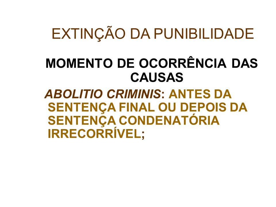 MOMENTO DE OCORRÊNCIA DAS CAUSAS ABOLITIO CRIMINIS: ANTES DA SENTENÇA FINAL OU DEPOIS DA SENTENÇA CONDENATÓRIA IRRECORRÍVEL; EXTINÇÃO DA PUNIBILIDADE