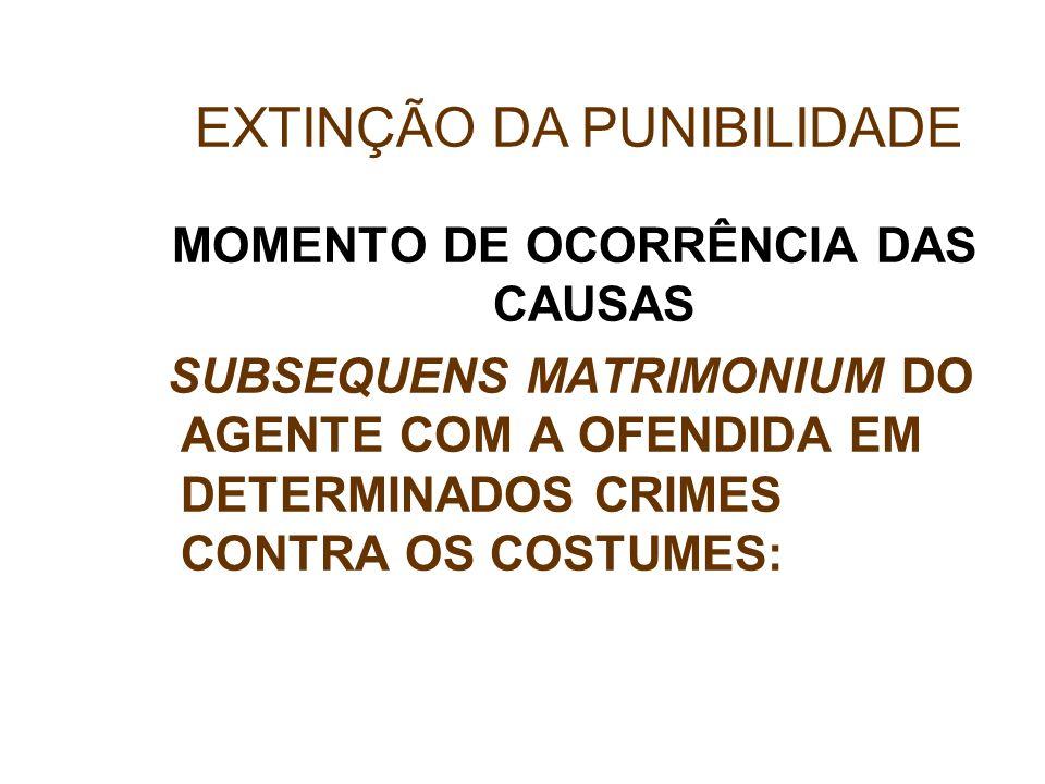 MOMENTO DE OCORRÊNCIA DAS CAUSAS SUBSEQUENS MATRIMONIUM DO AGENTE COM A OFENDIDA EM DETERMINADOS CRIMES CONTRA OS COSTUMES: EXTINÇÃO DA PUNIBILIDADE