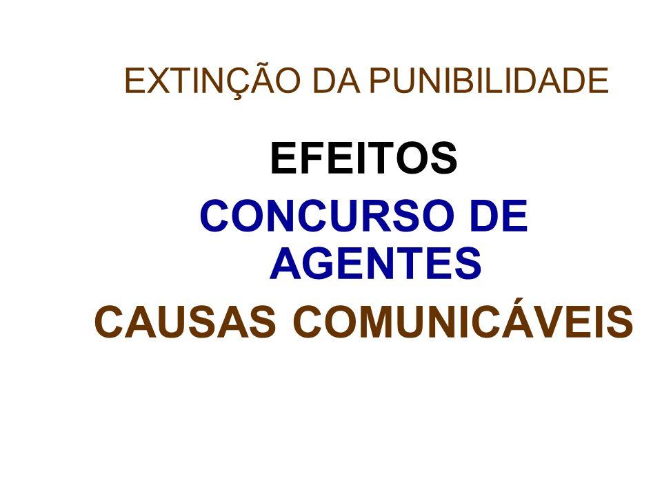 EFEITOS CONCURSO DE AGENTES CAUSAS COMUNICÁVEIS EXTINÇÃO DA PUNIBILIDADE